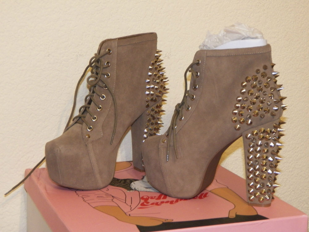 New w Box Jeffrey Campbell Lita Platforms Taupe Suede Spikes on Heels All Sizes | eBay