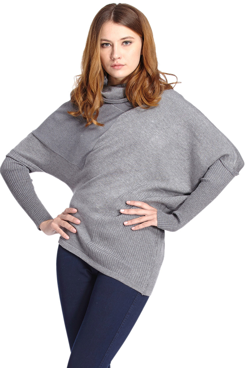 ROMWE | Batwing Sleeves Pleated Light-grey Jumper, The Latest Street Fashion