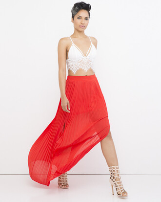skirt kirt maxi skirt red red skirt pleated pleated skirt