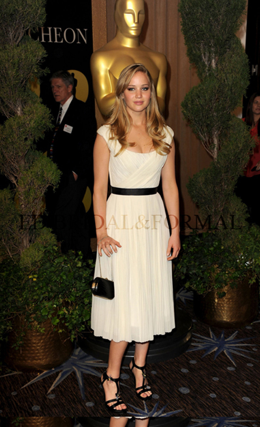 Jennifer Lawrence Dress Tea length White Prom Gown Formal Cocktail  2011 Oscar-in Celebrity-Inspired Dresses from Apparel & Accessories on Aliexpress.com
