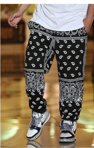 Hot plus size xxxl high quality fashion man skateboard loose mens hip hop bandana pants harem trousers men/gray black