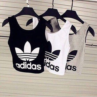 shirt adidas black shirt grey shirt crop tops singlet white shirt