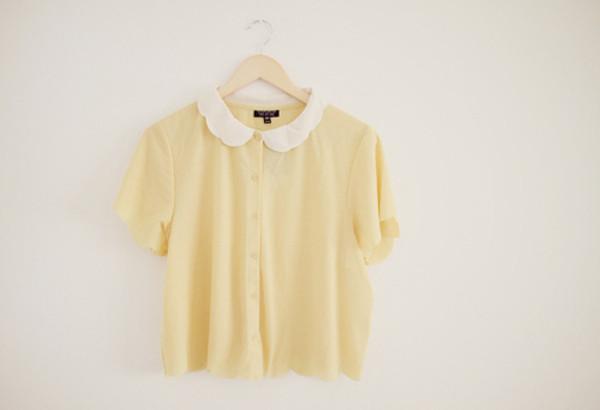 peter pan collar yellow blouse blouse t-shirt pink t-shirt crop tops peach blouse cute button up blouse yellow cute shirt top want