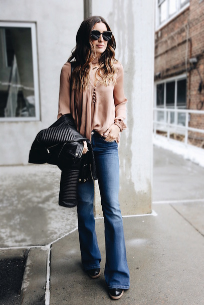 somewherelately blogger blouse jeans shoes bag jacket sunglasses spring outfits black leather jacket flare jeans