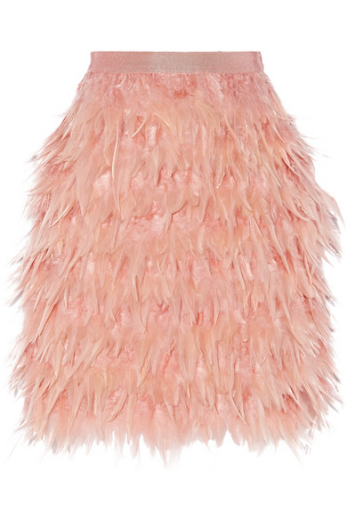 Feather and silk mini skirt