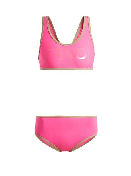 bikini back print pink swimwear