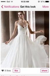 dress,prom dress,graduation dresses,flowing white dress,spagetti straps,v neck dress
