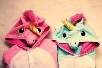 pajamas pink blue unicorn