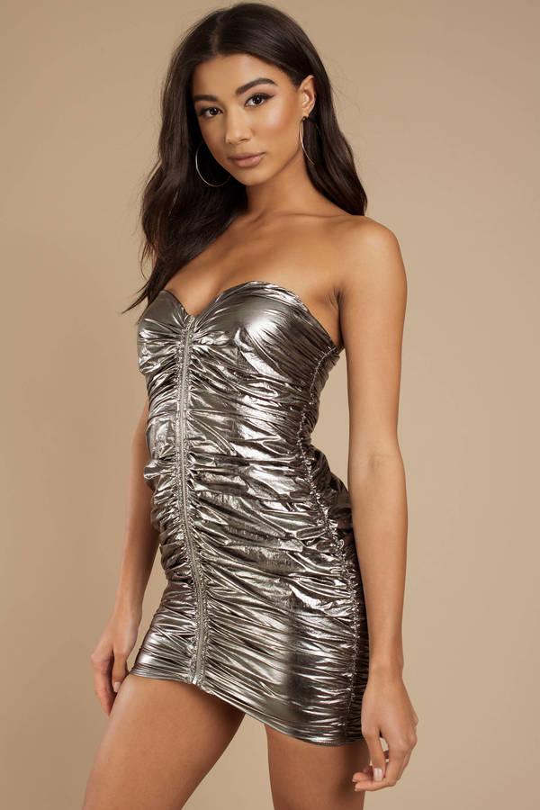 Anais Pewter Metallic Bodycon Dress