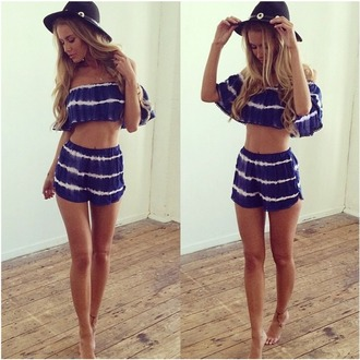 shorts blue off the shoulder enchanting two-piece set blue and white sexy crop tops lady fashion summer beach party hot sexy girl blue set charming