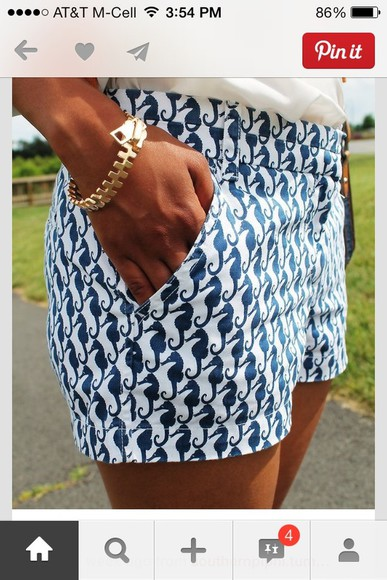 shorts summer sea horses preppy