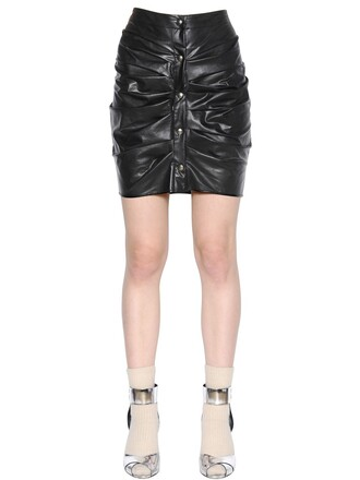 skirt mini skirt mini draped leather black