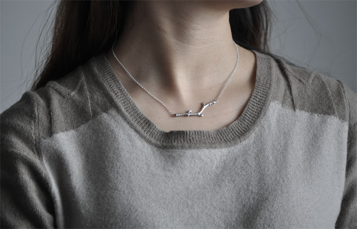 Handmade Sterling Silver Necklace Tree Buds - Wishbop.com