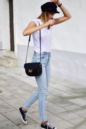 hat,black sneakers,converse,black bag,tumblr,fisherman cap,t-shirt,white t-shirt,denim,jeans,blue jeans,sneakers,low top sneakers,bag