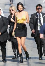 thebudgetbabe,blogger,tank top,skirt,shoes,belt,jewels,make-up,yellow top,lace top,black skirt,black boots,mini skirt,block heels