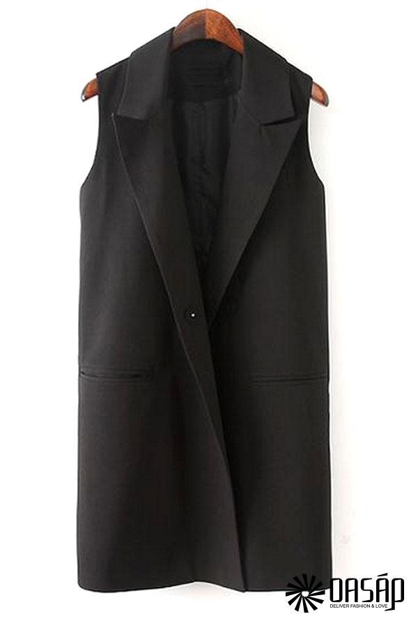 Textured Solid Longline Vest - OASAP.com