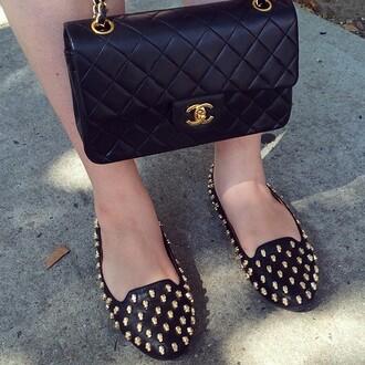 shoes flats black flats gold gold studs gold skulls skull black