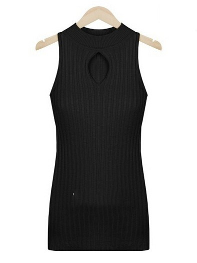 Necked solid color strapless neckline openwork bottoming knit vest