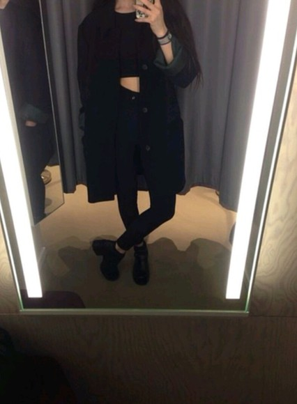 grunge pale long black coat