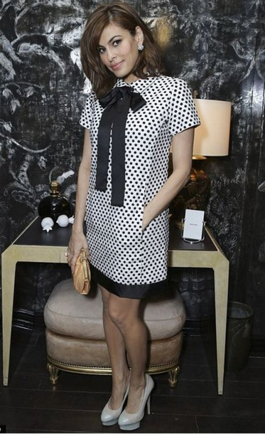 dress polka dots eva mendes
