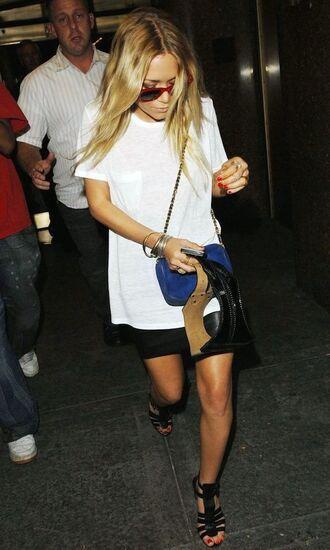 olsen sisters blogger sunglasses t-shirt bag skirt shoes