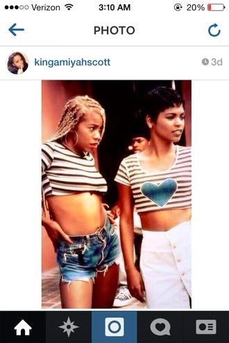 shirt t-shirt friday 90s style bellyshirt movie joi craigsgirlfriend paulajaiparker softghetto blackgreyandwhitestripes stripes