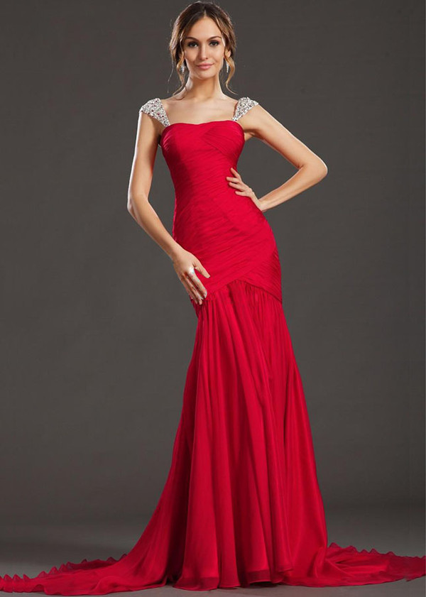 chiffon 2014 red ruched mermaid style evening dresses