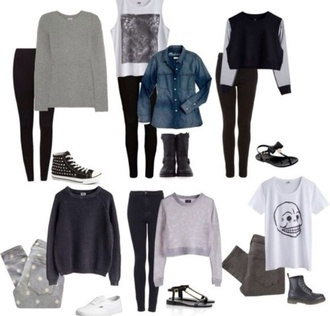 blouse pants shoes sweater jacket back to school grey t-shirt tank top jeans fall outfits shirt outfit tumblr