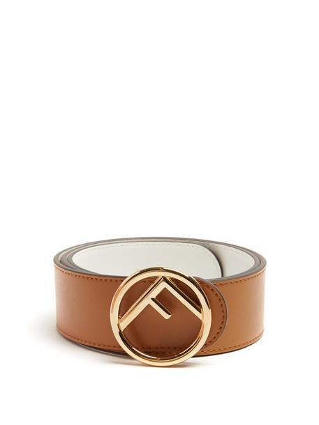 FENDI Logo reversible leather belt in tan