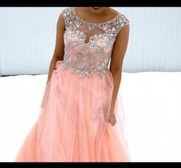 dress diamonds pink prom dress gown