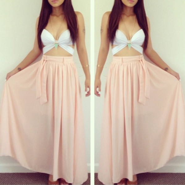 shirt summer maxi white top pink maxi skirt cute city look beach tank top white tank top maxi skirt