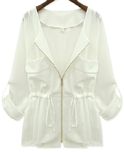 White Long Sleeve Zipper Drawstring Chiffon Coat - Sheinside.com