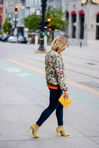 all dolled up blogger clutch yellow bag yellow shoes heels bomber jacket floral jacket streetwear zara