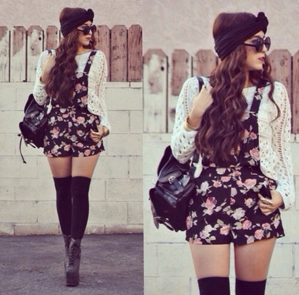 hair accessory blouse shorts socks shoes