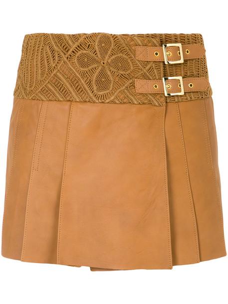 Martha Medeiros - Mida wrap skirt - women - Leather - 40, Brown, Leather