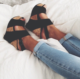 shoes wedges shoes black wedges black black shoes fasion high heels pumps high heel sandals style outfit fashion beautiful fitness girl heels legs love luxury make-up money youtfit platform shoes summer swag
