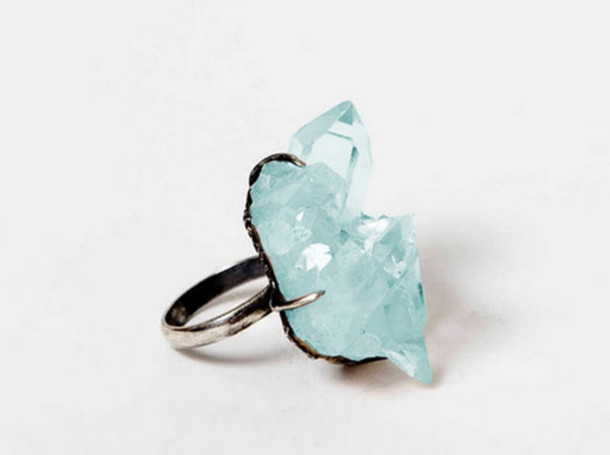 jewels ring crystal blue baby blue stone pretty fashion blue stone ring blue ring PLL Ice Ball blue wedding accessory rings and tings acrylic quartz crystal quartz rings cute summer blue rings green emerald green ring