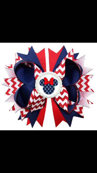 hair accessory red white and blue hair bow mickey mouse minnie mouse zig zag anchor bottle cap cheerleading