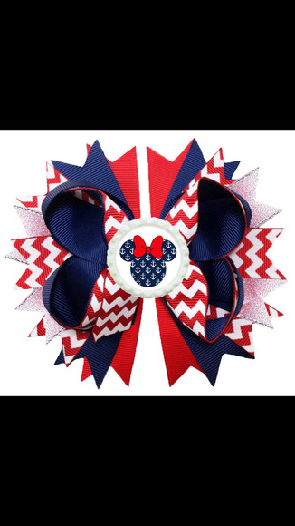 red white and blue hair bow hair accessories mickey mouse minnie mouse zig zag anchor bottle cap