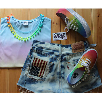 t-shirt dip dyed shoes sneakers ombre tie dye dip dye top summer outfits hippie hipster teestodyefor boho ombre crop top summer top indie vans necklace custom vans custom shoes outfit tie dye vans tie dye top tie dye shorts dip dyed top ombre top ombre vans dip dye vans custom sneakers vans of the wall summer shoes cute shorts cute shoes pom pom shorts holidays beach accessories
