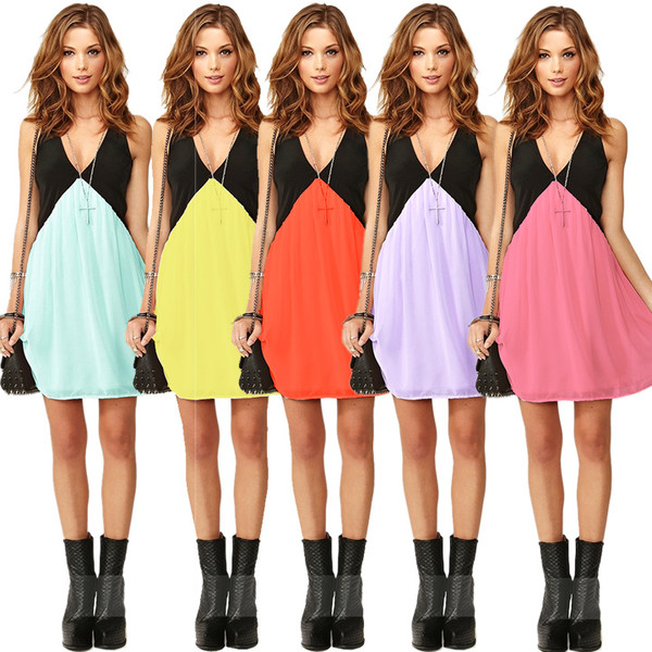 dress v neck v neck dress chiffon chiffon dress colorful dress short dress purple yellow orange