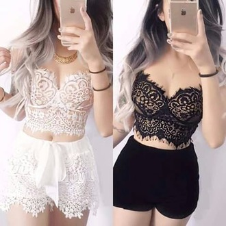 top black white crop tops lacy