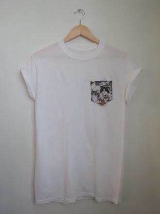 cats trendy hipster bambiandben white t-shirt acacia brinley pocket t-shirt shirt