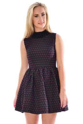 Arista Beaded Necklace Pink Dotted Skater Dress - Pop Couture
