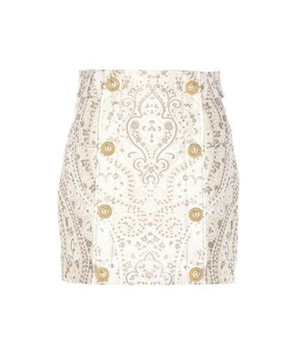 miniskirt jacquard white skirt