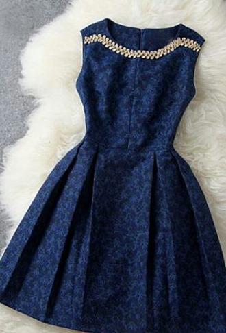 blue dress golden navy