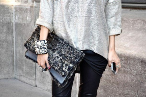 bag wallet cover fur sweater jeans