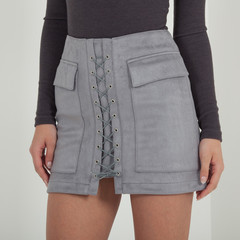Lace-Up Skirt - Light Grey