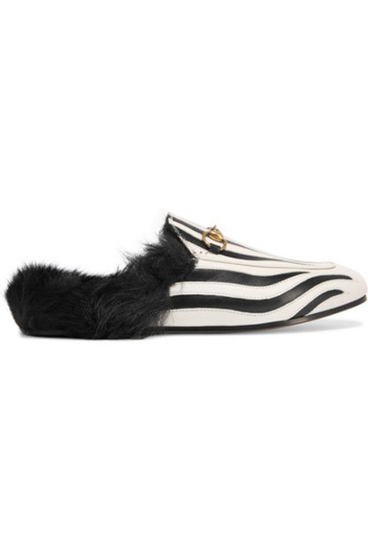 82243f4f3 gucci Gucci - Horsebit-detailed Shearling-lined Leather Slippers - Zebra  print