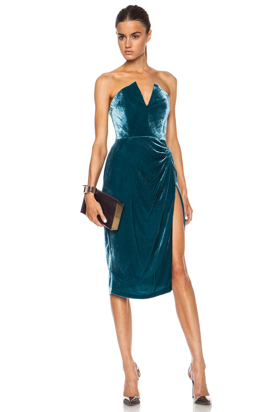 Cushnie et Ochs | Velvet Dress in Teal